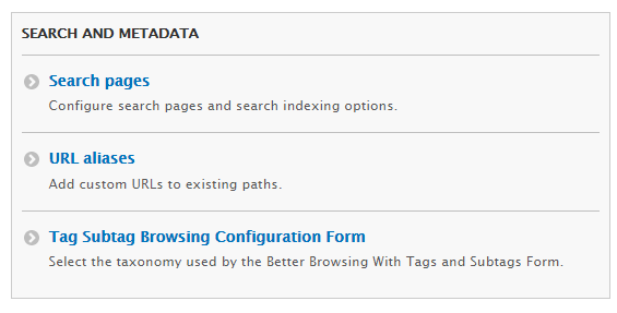 Tag Subtag Browsing Link in Search Config Menu
